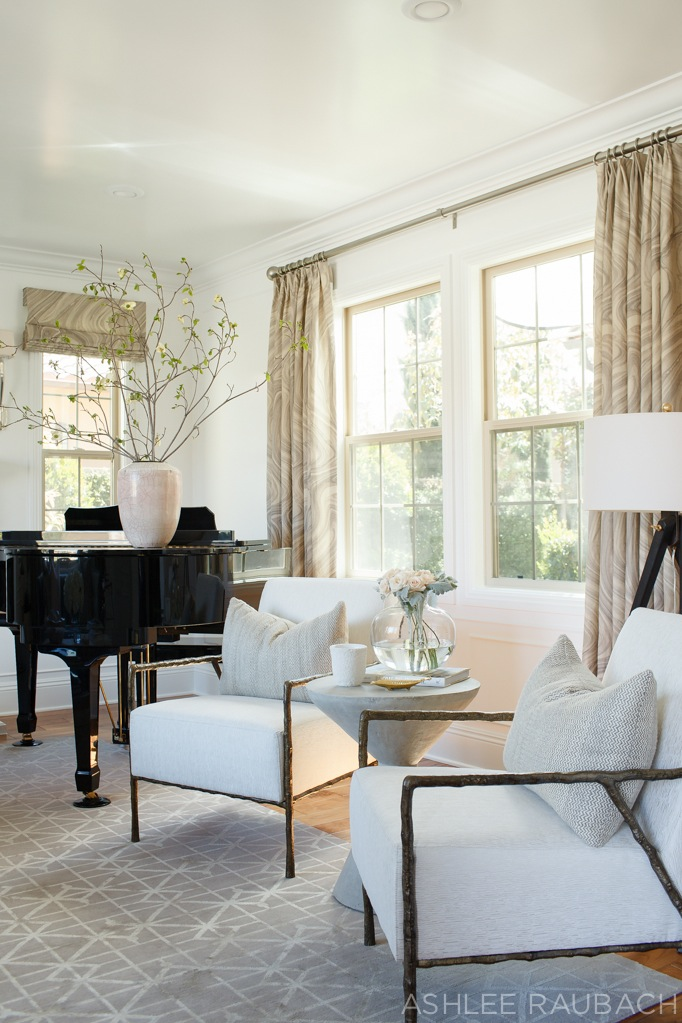 Neutral modern living room owens and davis for How to place a piano in a room