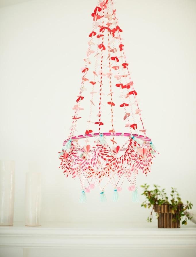 DIY valentines chandelier