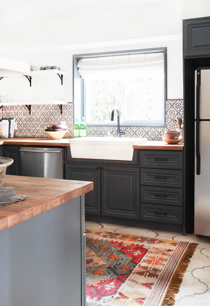 Before and after modern spanish kitchen for Cement tiles for kitchen