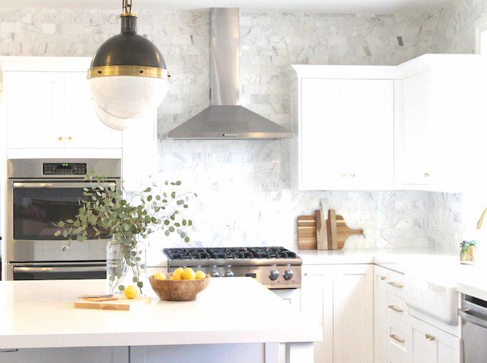 black brass and white kitchen makeover becki owens