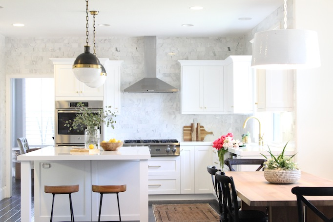 black, white and brass kitchen makeover