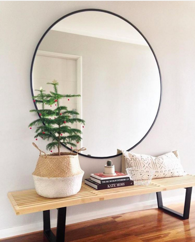 Beautiful holiday vignettes becki owens for Extra large round mirror