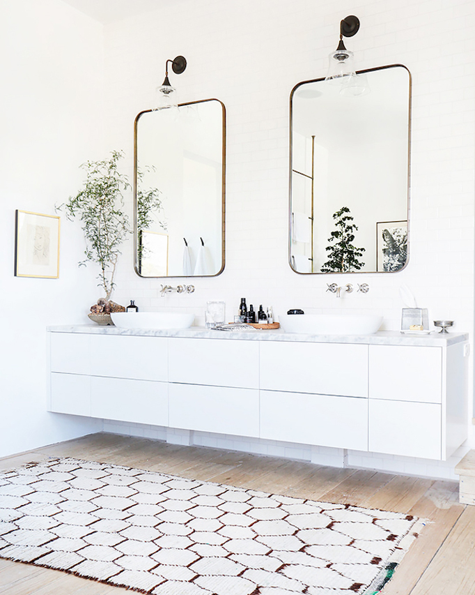 Creative Impressive Bathroom Rug Ideas With Double Vanity Rich Wood Cabinet