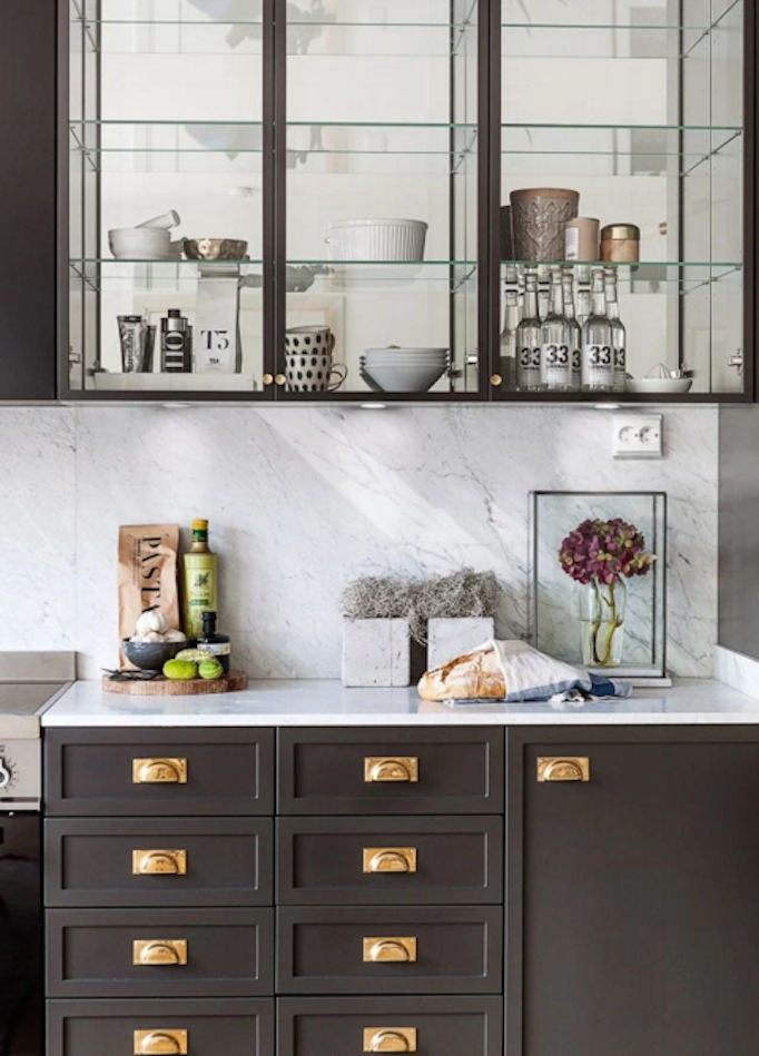 Dream home dark gray and brass beautiful home for Dark gray kitchen cabinets