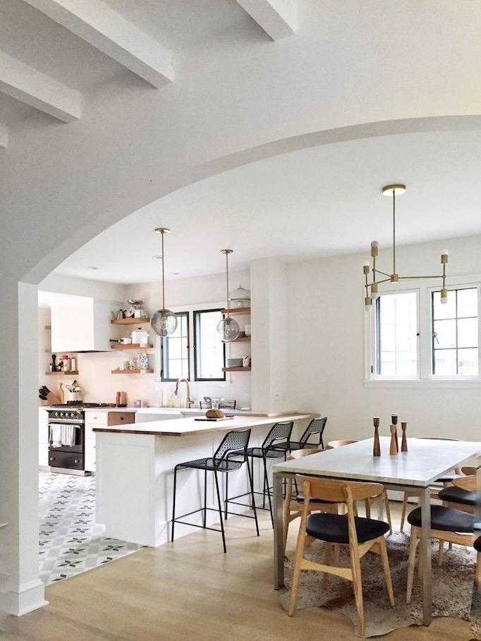 Kitchen Dining Interior Design: Charming Black, White And Brass Kitchen Renovation