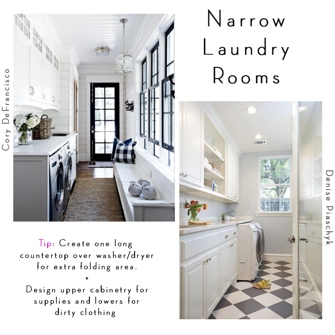 Narrow laundry room design