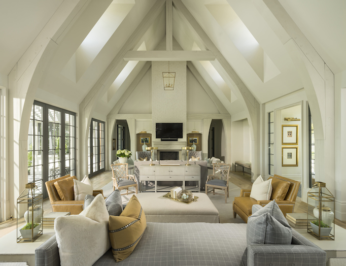 classical modern brick home greatroom