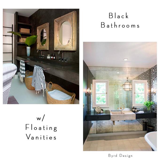 black bathroom cabinetry brass mirrors