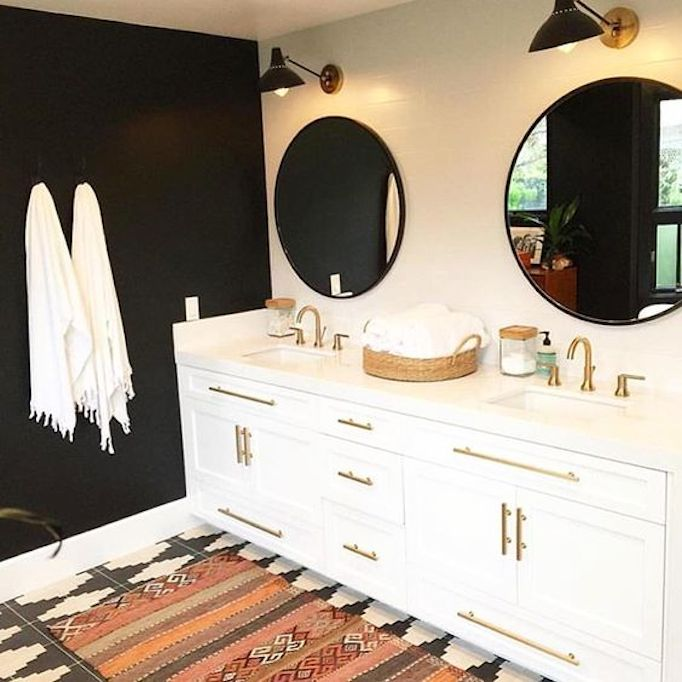 Black Painted Wall Bathroom