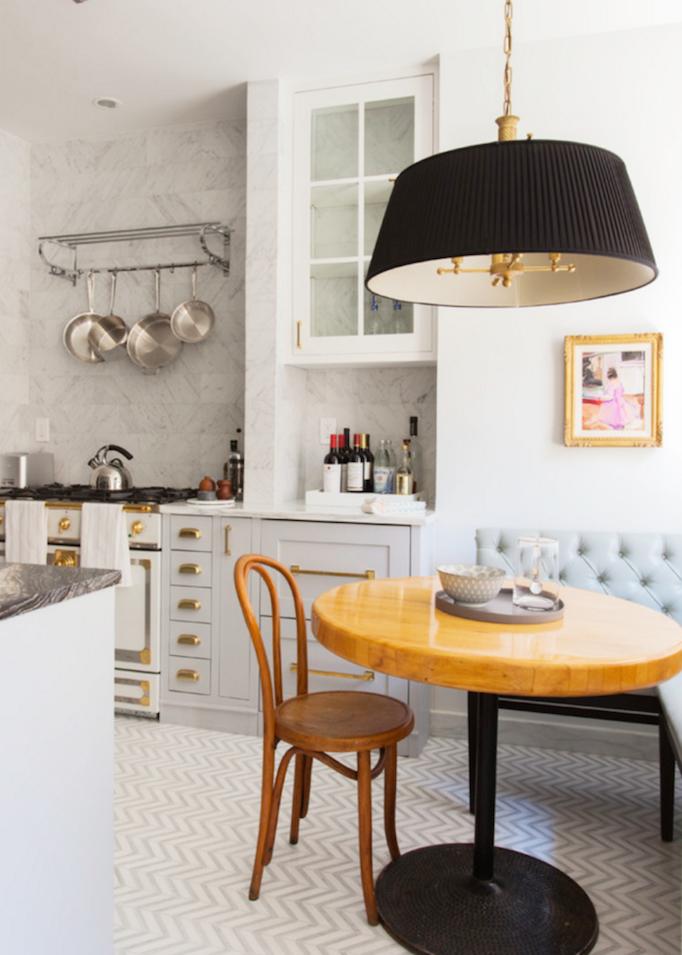 marble black brass kitchen nook detail