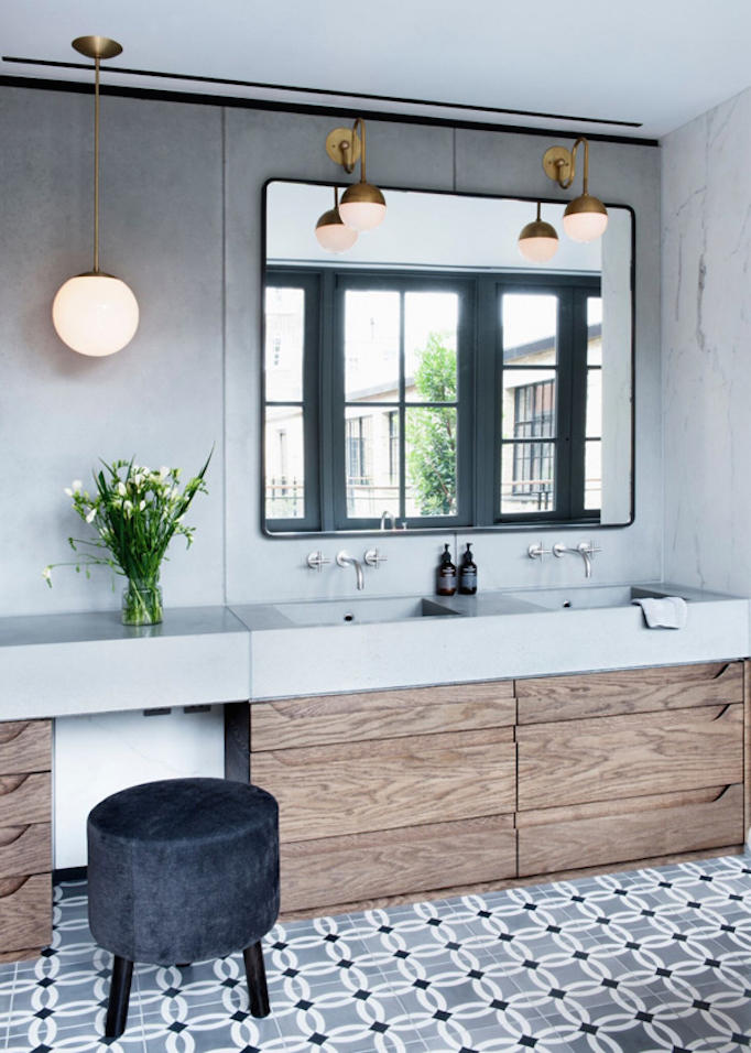 BECKIOWENS Gray and Wood Bathroom