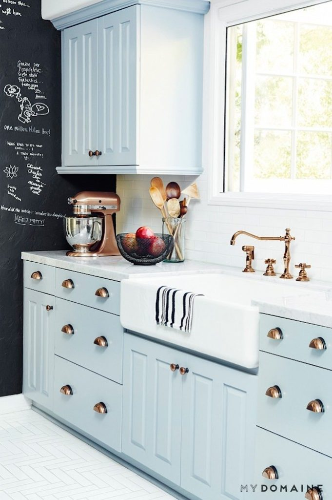 light blue painted kitchen