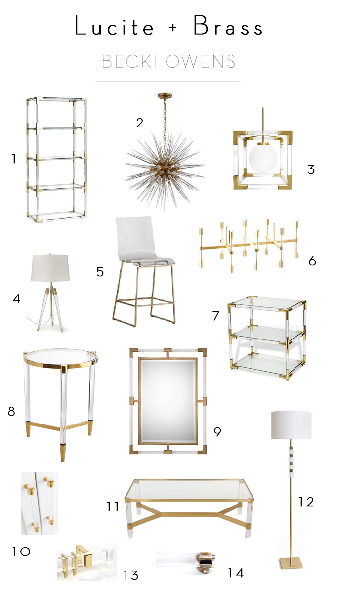 lucite and brass
