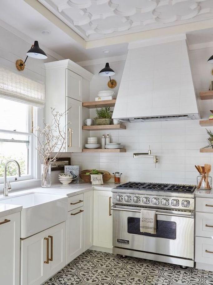 white modern farmhouse kitchen. black and white cement tile kitchen design network modern farmhouse n