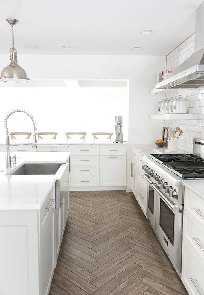 Pros and cons kitchen flooringbecki owens for White kitchen cabinets with tile floor
