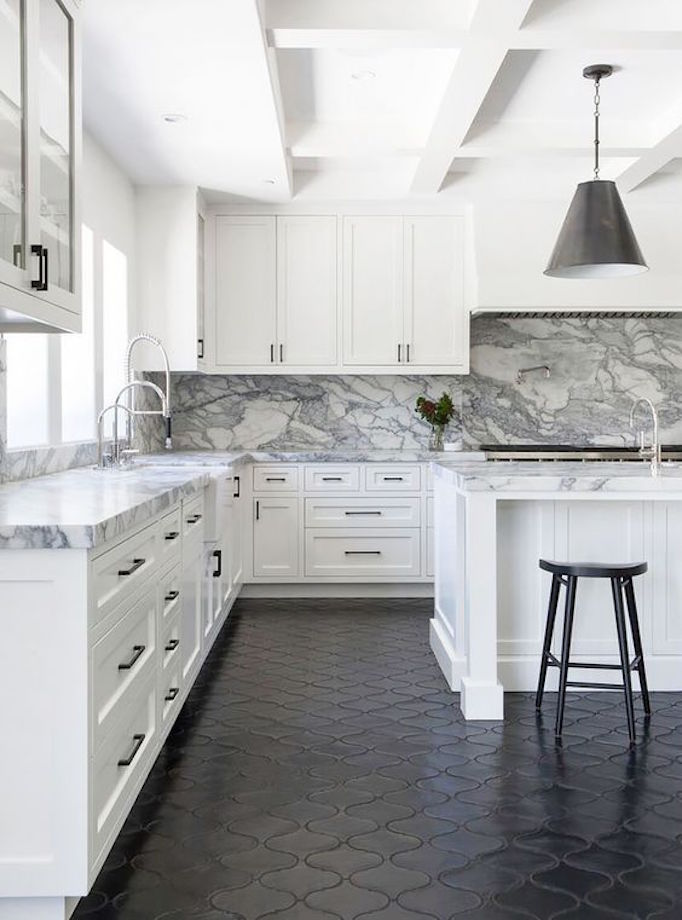 Pros and cons kitchen flooringbecki owens for Black floor tiles for kitchen