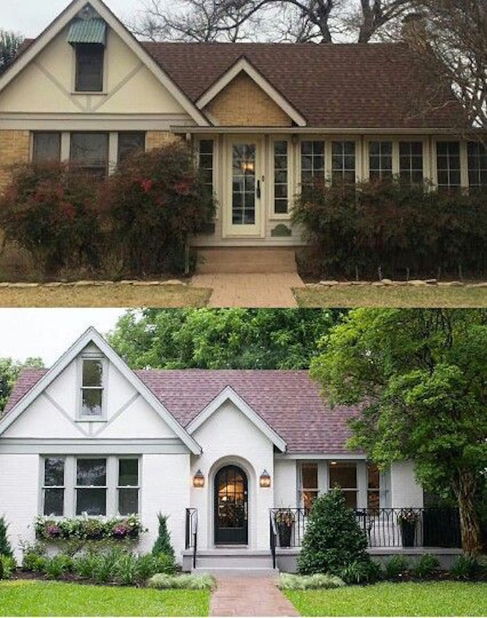 10 inspiring before and after exterior makeoversbecki owens for Before and after exterior home makeovers