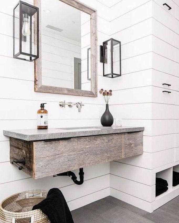 Shiplap Bathroom Vanity: 25 Fresh Farmhouse BathroomsBECKI OWENS