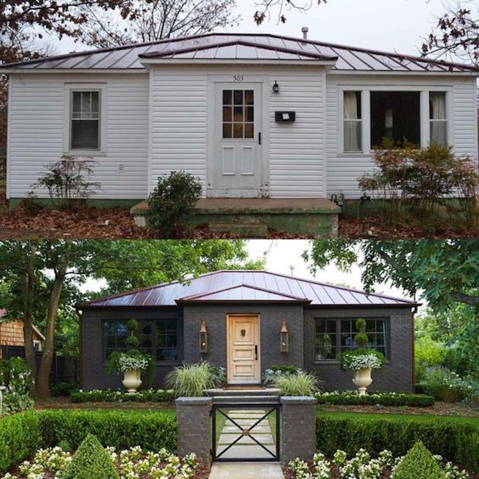 10 inspiring before and after exterior makeoversbecki owens for Before after exterior 1930