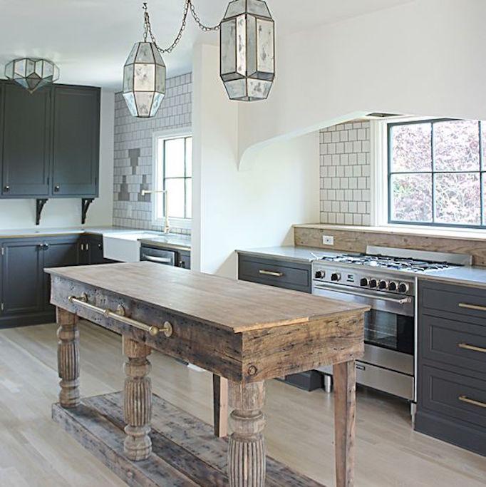 46 Popular Farmhouse Dining Room Design Ideas Trend 2019: Design Trend 2018: Reclaimed Kitchen IslandsBECKI OWENS