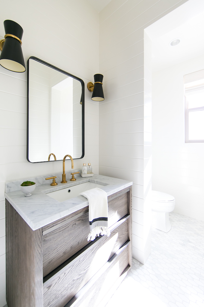 White Modern Farmhouse Bathroom